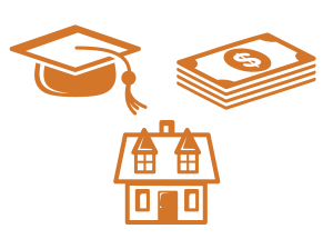 House, mortar board and cash